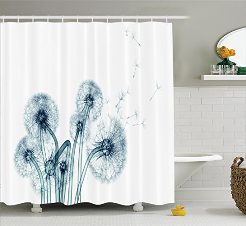 Ambesonne Xray Flower Decor Collection, Unusual Image of Dandelions on Simple Background Uv Style Negative of Nature Art, Polyester Fabric Bathroom Shower Curtain, 84 Inches Extra Long, Teal White