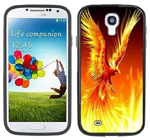 Phoenix Flames Firebird Fantasy Handmade Samsung Galaxy S4 Black Bumper Hard Plastic Case