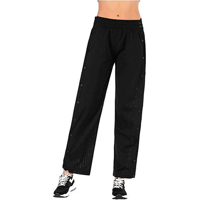 bcc8ce34 GUOLEZEEV Women High Slit Pants Elastic Waist Wide Leg Casual Track Trousers  S