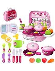 wodtoizi Kitchen Cooking Set Kids toy Pretend Play Cooking Set Fruit Vegetable Tea Playset Toy for Kids Early Age Development Educational Pretend Play Food Assortment Set