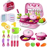 wodtoizi Kitchen Cooking Set Fruit Vegetable Tea Playset Toy for Kids Early Age Development Educational Pretend Play Food Assortment Set
