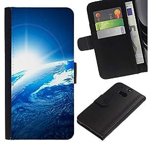 KingStore / Leather Etui en cuir / HTC One M8 / Tierra azul del planeta sol Opinión del espacio