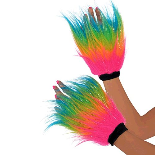 Rainbow Bright Costume Uk (Neon Bright Electric Party Furry Hand Warmers Accessory, Faux Fur, Adult Free Size, Pack of 2)