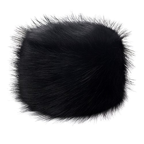 Futrzane Faux Fur Cossak Russian Style Hat for Ladies Winter Hat for Women (M, Black)