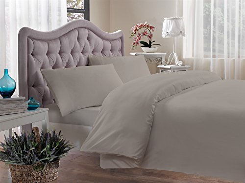 Brielle 400 Thread Count Egyptian Cotton Sateen Fine Duvet Cover, King, Paloma (400 Tc Single Ply)