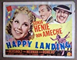 img - for DO27 Happy Landing SONJA HENIE 1938 Title Lobby Card. Here's a terrific TITLE lobby card from the original release of HAPPY LANDING featuring a great image of SONJA HENIE, DON AMECHE and CESAR ROMERO. Lobby card is in VERY GOOD- to GOOD+ condition. A few pinholes, no stains, no tears, some paper scruffing/loss on Sonjas hair, three chips on the right border . book / textbook / text book
