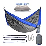 """COLOR: Blue/Grey  SIZE: Double  What's inside the carrying bag?  ✔ 1 double camping hammock 118"""" (Length) x 78"""" (Wide) with 2 strong ropes ✔ 2 tree friendly straps (each 75"""" (Length)), each one has a protective covering for tree bark ✔ 2 ferric cara..."""