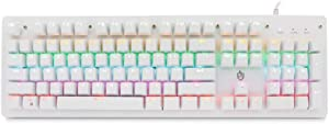 Montloxs Illuminated Mechanical Keyboard 104 Keys Gaming Keyboard USB Powered Operated 6 Light Colors 9 Vivid Lighting Effects for Computer Laptop E-Sports Trip Travel with Rotator