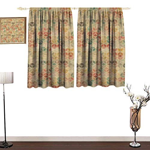 home1love Custom Curtain Geometric Soft Toned Retro Inspired Cube Pattern with Squares and Lines Vintage Old School Durable W84 xL72