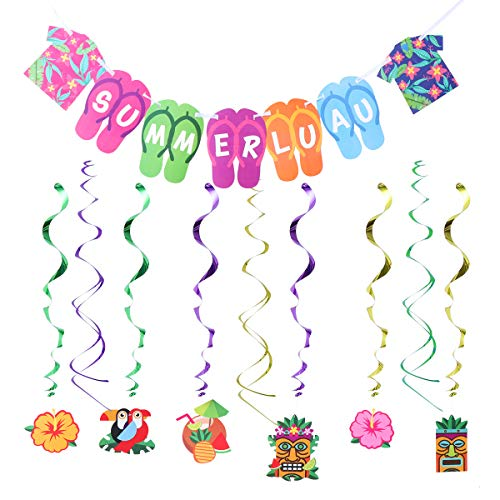 Amosfun Hawaii Party Supplies Summer Luau Banner Tropical Hanging Swirl Flip Flop Clothes Streamers Hanging Decorations for Summer Pool Party Supplies