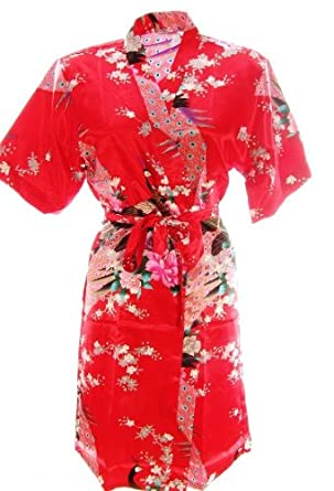 ee7de2f321  800103  Red Ladies Oriental Satin Silk Feel Kimono Robe Dressing Gown 12-14