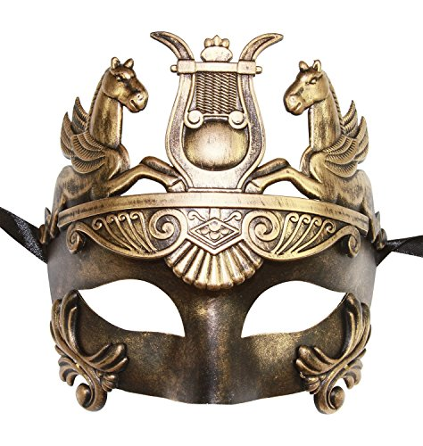 [Gold Masculine Greek & Roman Soldier Men Venetian Metallic Mask For Masquerade / Party / Ball Prom / Mardi Gras / Wedding / Wall] (Princess Bride Halloween Costumes)