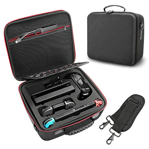 Winkeyes Carrying Case for nintendo switch, Extra Large Protective Hard Shell Switch Carrying Case with Shoulder Strap for Switch Console, Dock, AC Adapter, HDMI Cable, Pro Controller and 21 Game Cart
