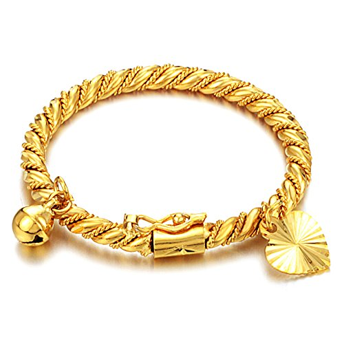TEMICO 18K Gold Plated Love Heart Bells Open Cuff Bracelet Bangle For Baby Children Newborn Gift (Gold Baby Bangle)