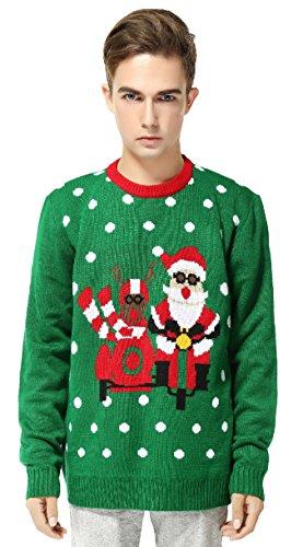 Christmas Motorcycle - V28 Men's Christmas Reindeer Snowman Penguin Santa and Snowflake Sweater (X-Large, Motorcycle)