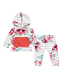 Baby Girl Clothing Newborn Floral Hooded Tops+Striped Flower Long Pants Outfits Set
