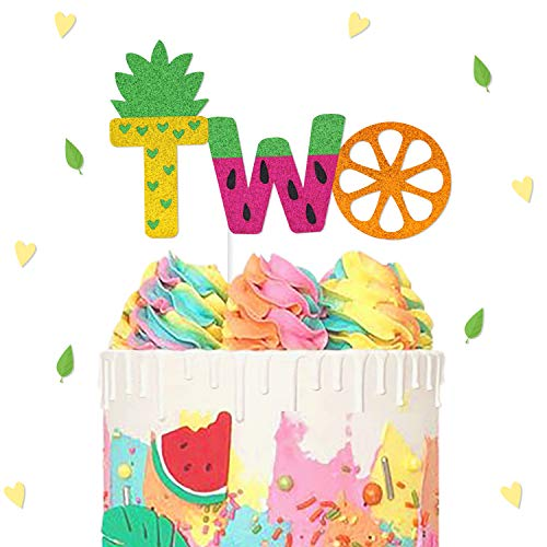 Twotti Frutti Birthday Cake Topper Second Fruit Pineapple Watermelon Orange Summer Baby Shower Party Supplies Decorations