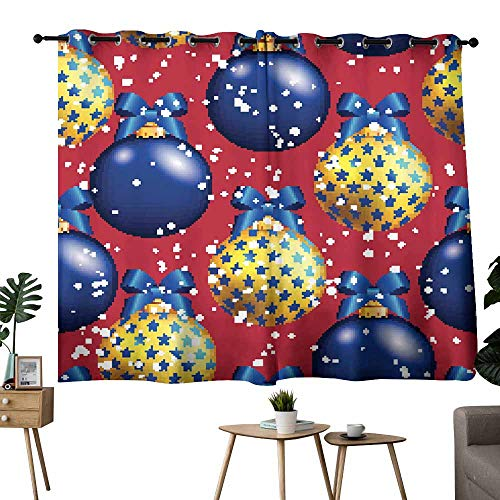 Mannwarehouse Light Luxury high-end Curtains New Year Pattern with Ball Christmas Wallpaper with Bow Set of Two Panels 55
