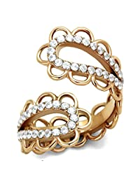 Women's Rose Goldtone Stainless Steel Paisley Crystal Fashion Ring