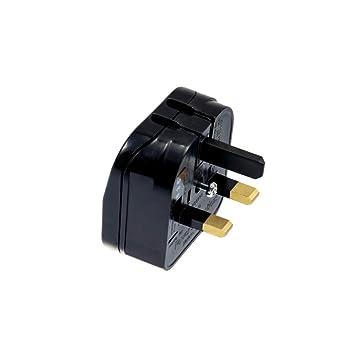 Black Ecp Mains Uk Converter Adapter Plug 2 Pin Euro To Uk 3 Pin 3