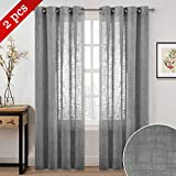 NICETOWN Home Decorative Privacy Sheer - Semi Voile Window Treatment Natural Linen Look Curtains Panels Drapes with Ring Top for Bedroom/Living Room/Bathroom (Dark Grey, 52' W x 84' L, 2 Panels)