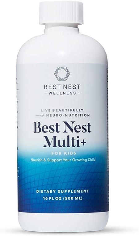 Best Nest Multi+ for Kids Tropical Flavor, Liquid Multivitamin, Methylfolate (Folic Acid), Methylcobalamin, Complete, Natural Whole Food Blend, Prebiotics, Immune Support, 16 oz, Best Nest Wellness