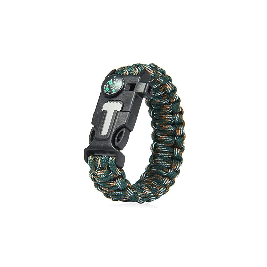 ECVILLA Paracord Bracelet, Survival Bracelet with Compass, Fire Starter, Emergency Knife & Whistle EDC Hiking Gear Camping Gear