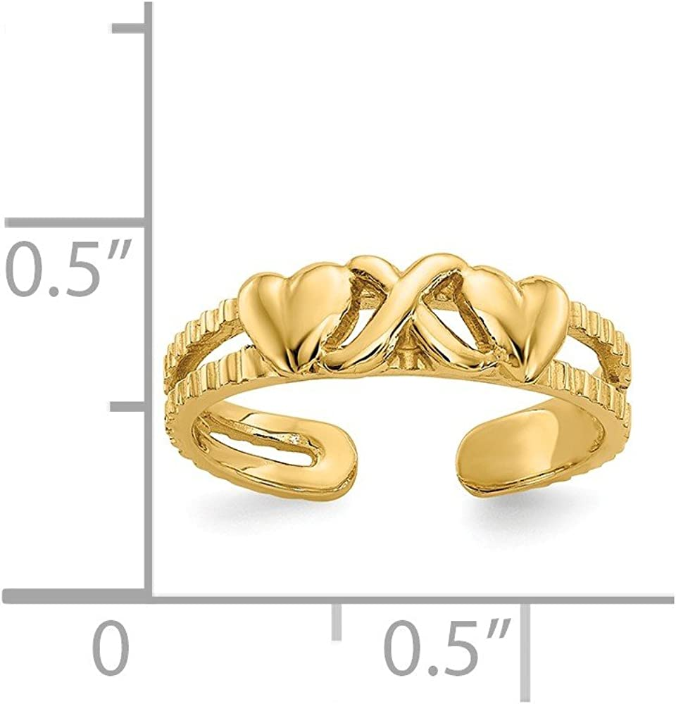 Diamond2Deal 14k Yellow Gold Hearts and X Toe Ring Fine Jewelry Ideal Gifts for Women