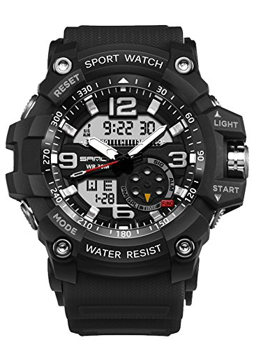 VOGUELADY Mens Watches Sport Wrist Watch Analog Digital Quartz Watch Outdoor Multifunction Waterproof Military Watches Black 759