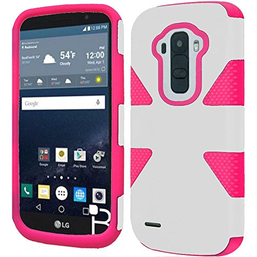 HR Wireless Cell Phone Case for LG G Stylo LS770 H631 G4 Stylus - White+Hot Pink -  BDYNMC-LGLS770-WhitHpnk