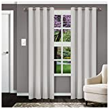 "Superior Solid Blackout Curtain Set of 2, Thermal Insulated Panel Pair with Grommet Top Header, Elegant Solid Room Darkening Drapes, Available in 4 Lengths – Chrome, 52"" x 63""  each"