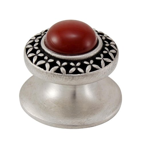 (Vicenza Designs K1150 Gioiello  Round  Stone Insert  Style 4  Knob,  Carnelian,  Small,  Antique Nickel)