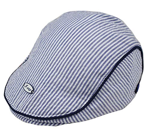 (Baby Newsboy-Cap Striped Beret - Toddlers Cotton Gatsby Ivy Cabbie Flat Cap for 1-3 Years (Blue, Adjustable))