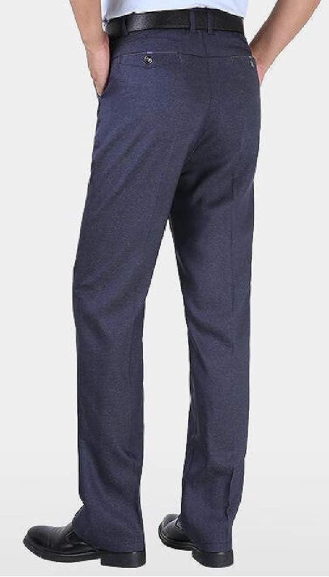 Pandapang Mens Casual High Waist Trousers Big and Tall Business Dress Pants