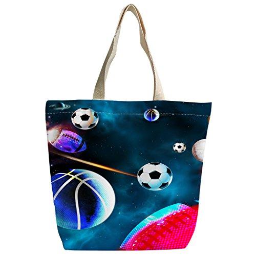 Violetpos Benutzerdefiniert Canvas Handtasche Einkaufstaschen Umhängetasche Schultasche Basketball Fußball Baseball Galaxie