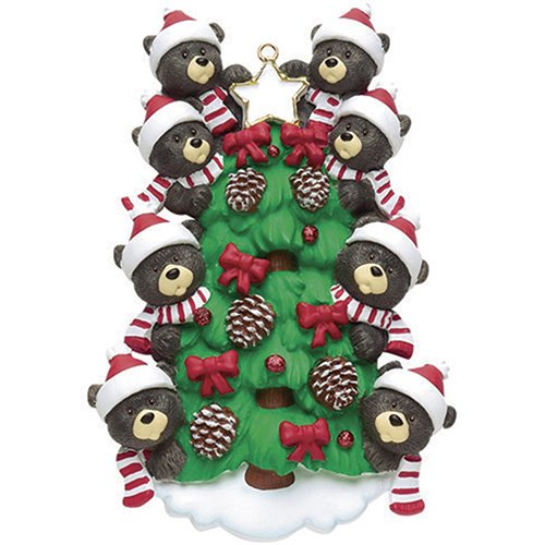 Personalized Bear Tree Family of 8 Christmas Ornament 2019 - Cute Parent Child Friend Santa Hat Garnish Cone Black Tradition Gift Year Winter Eve Holiday Sibling Kid - Free Customization (Eight)