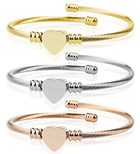 Komene Triple 3 Titanium Steel Cable Wire Cuff Twisted Bangle Bracelet Set...