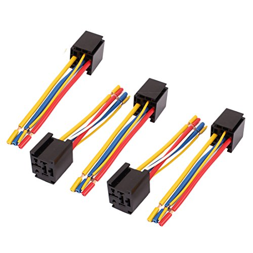 (uxcell DC 12V/24V 80A 5-Pin Wire Cable Relay Socket Harness Connector 5pcs for Car Truck)