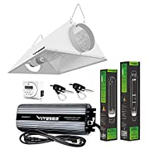 VIVOSUN Hydroponic 600 Watt HPS MH Grow Light Bulb Digital Dimmable Ballast Air Cooled Hood Reflector Set