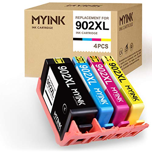 (MYINK Remanufactured Ink Cartridge Replacement for HP 902XL 902 XL Upgraded Newest Chips (Black Cyan Magenta Yellow, 4-Pack) OfficeJet Pro 6968 6978 6958 6970 6960 6954 6962 Printer )