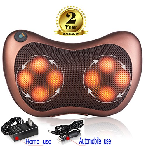 Pillow Massager,Neck Shiatsu Deep Kneading Massage with Heat for Relieving Back Neck and Shoulder Pain with Heat, Car/Office Chair Massager, Neck, Shoulder, Back, Waist Massager Pillow (Black)