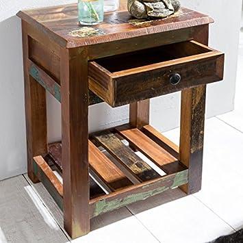 FineBuy Beistelltisch Delhi 45 X 37 X 60 Cm Massiv Holz Nachttisch Ablage U0026  Schub