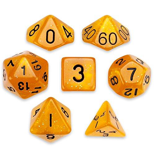 Wiz Dice 7 Die Polyhedral Dice Set - Dwarven Brandy (Orange Glitter) with Velvet Pouch