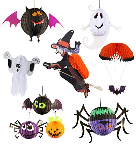 Lecoon-9-Piece-Halloween-Party-Paper-Lantern-Decorations-Pendant-Hanging-Decorations-Spider-Bat-Ghost-Pumpkin-Witch