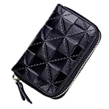 Summer Clearance Big Sale for Back to School Supply-Credit Card Organizer Wallet, Welegant RFID Blocking Genuine Leather Zipper Wallet Purse Case for Men Teen Boys(Square, Black)