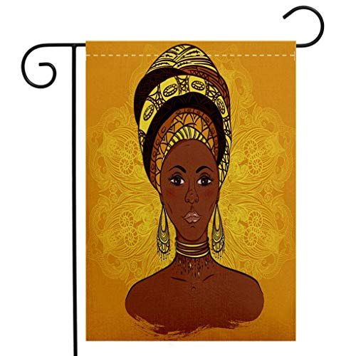 Custom Double Sided Seasonal Garden Flag African Woman Tribal Woman Portrait in Turban Ornate Mandala Inspired Round Motif Yellow Brown Cocoa Welcome House Flag for Patio Lawn Outdoor Home Decor