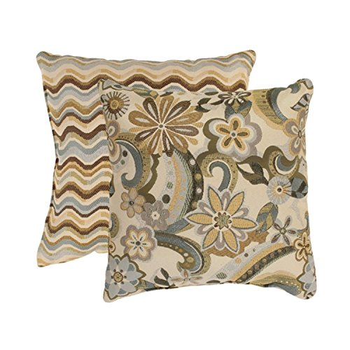 Set of 2 Splash Floral and Wave Stripe Blue and Gold Throw Pillows 16.5