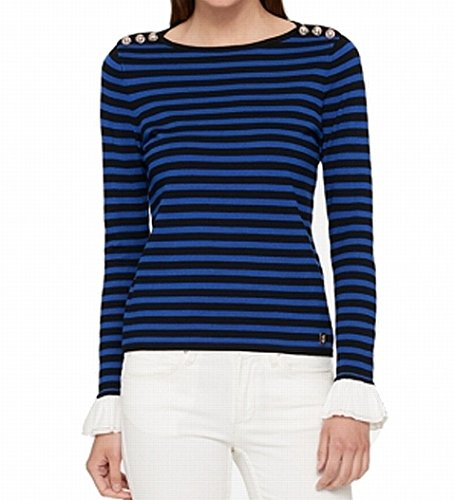 Tommy Hilfiger Women's Plus Stripe Pullover Sweater Blue XXL