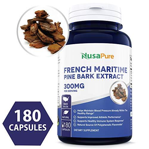 French Maritime Pine Bark Extract 300mg 180 Veggie Capsules (Non-GMO & Gluten Free) Supports Heart Health, Circulatory Health, Skincare, 150mg per Caps, Made in The USA, 100% Money Back Guarantee