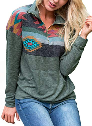 AlvaQ Women Fall Autumn Juniors Casual 1/4 Zipper Floral Printed Patchwork Pullover Sweatshirts Tops Hoodies with Pockets Green Small